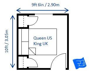 minimum bedroom size for a queen bed 9ft 6in x 10ft (eliminate the closet  doors