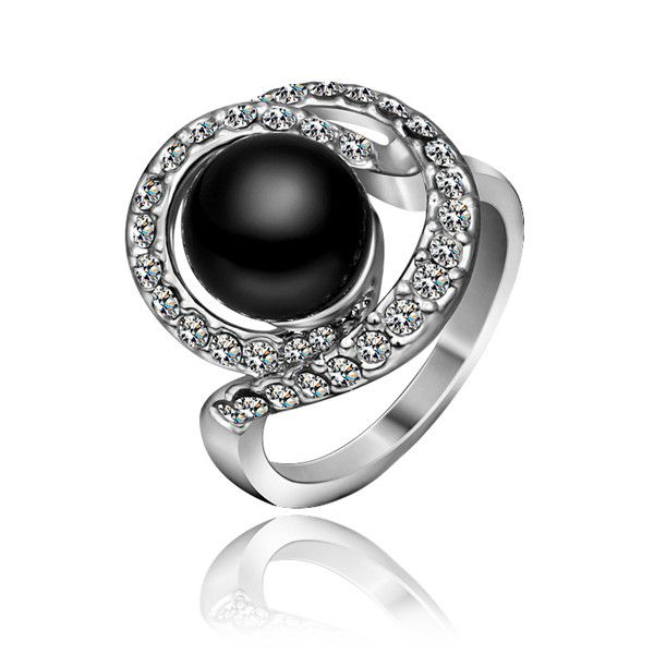 Black Pearl White Gold Plated Ring
