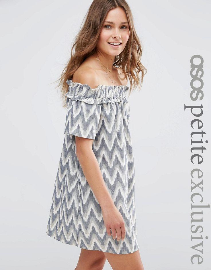 ASOS+PETITE+Bardot+Summer+Dress+in+Ikat+Print