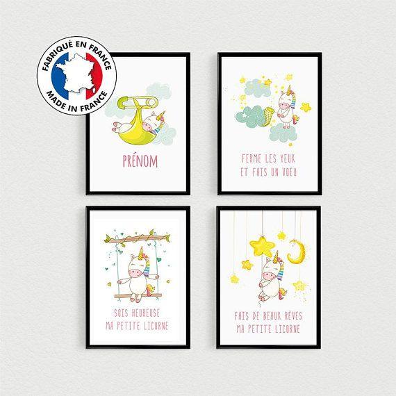 PROMOTION !!! Lot de 4 affiches de citations de Licornes personnalisées dans lesprit scandinave. Sois heureuse ma petite licorne, Ferme les yeux et fais un vœu, Fais de beaux rêves ma petite licorne et Prénom du bébé personnalisé. Illustrations de licornes pour chambre denfant.