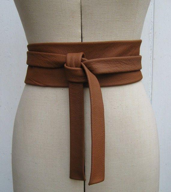 Saddle tan leather knot wrap belt