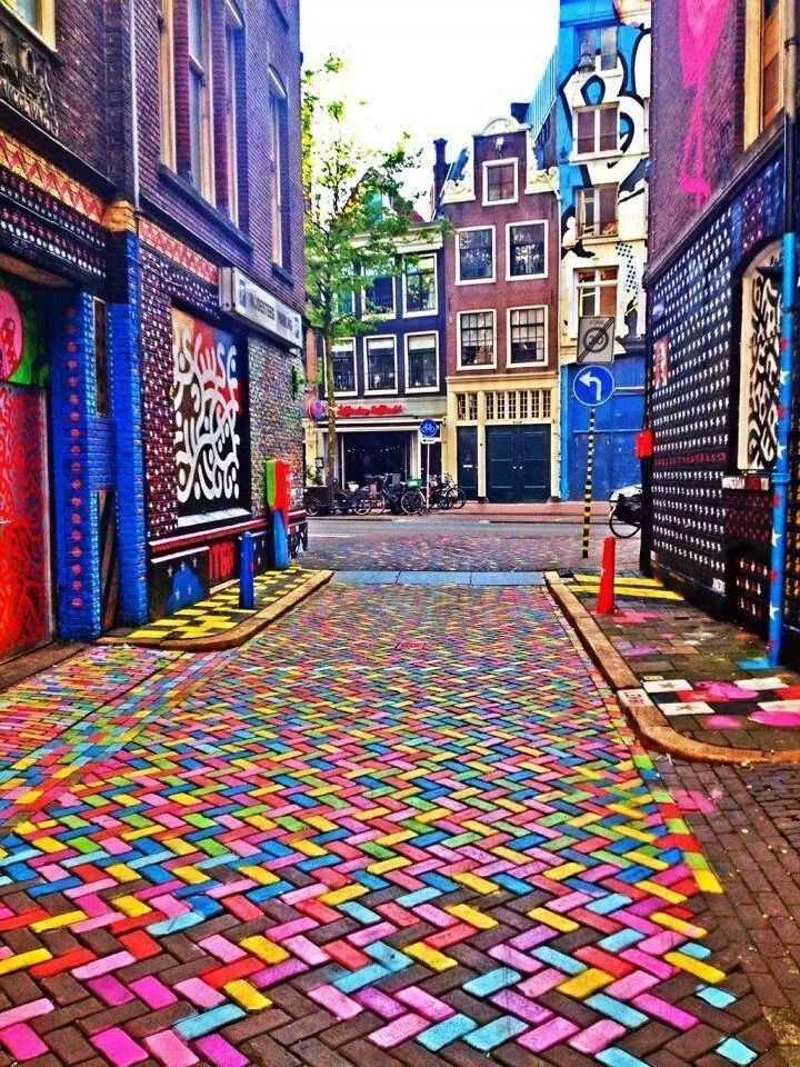 Colourful Street in Amsterdam, Netherlands