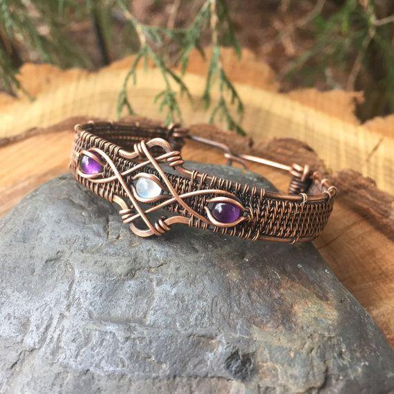Wire Wrap, Wire Wrapped Bracelet, Copper Bracelet, Amethyst Moonstone Bracelet, Heady Wire Wrap, Wire Wrapped Jewelry, Sweet Water Silver,