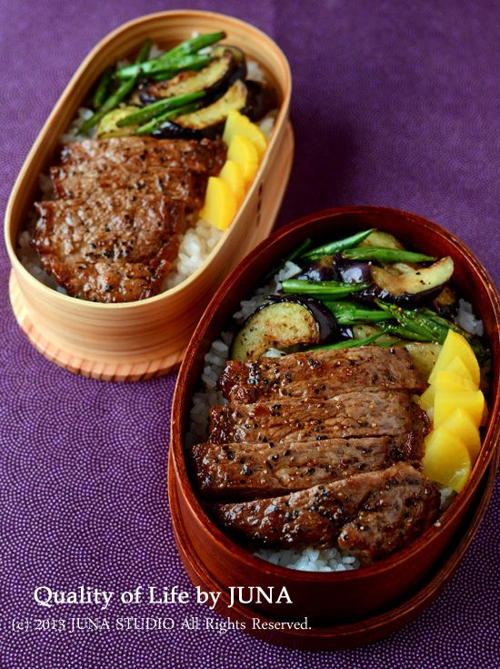 Steak-on-Rice Bento ステーキ丼弁当. Omg... looks delicious !!!