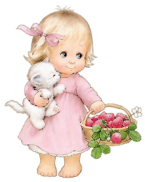 Meisje met Mandje met Aardbeien