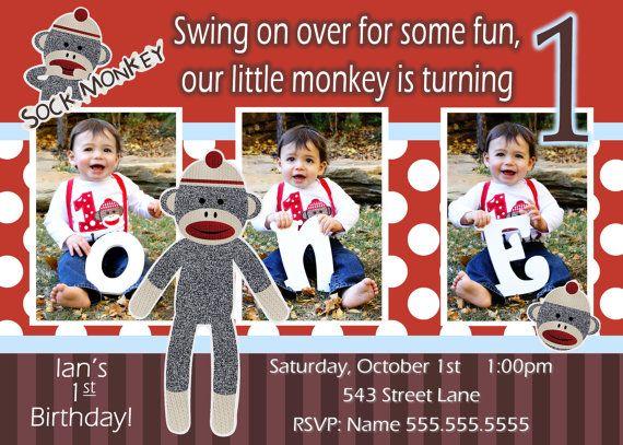 Sock Monkey Invitation Boy Sock Monkey by JRCreativeDesigns