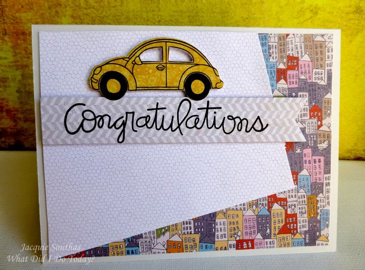 Jacqui Southas driving test pass card. Would work with other patterned paper and focal image.
