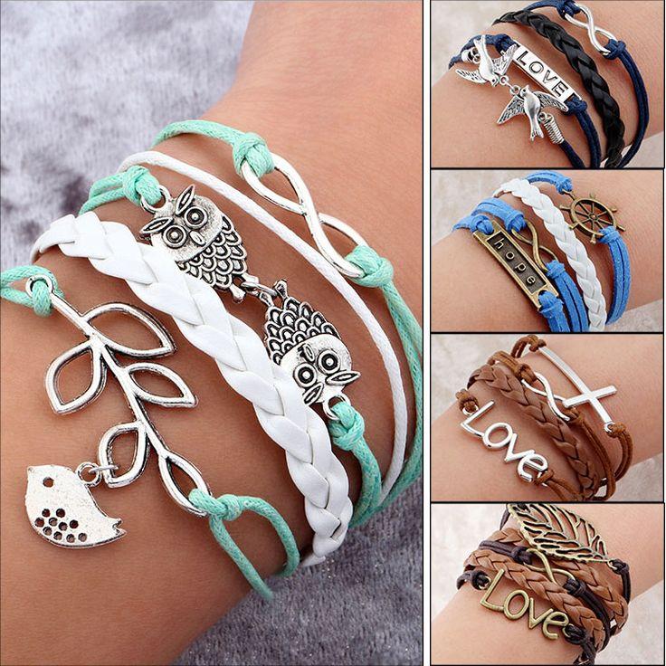 Cheap bracelet bangle, Buy Quality bangle storage directly from China bangle silver Suppliers:  Handmade bracelet Vintage Bird Owls Anchors Bracelet Wrap Leather Bracelet Charm bracelets pulseira
