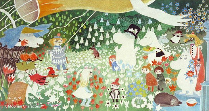 The Moomins and the Great Flood – 1945. Comet in Moominland, Some editions: The Happy Moomins – 1946. Finn Family Moomintroll – 1948. The Exploits of Moominpappa, Some editions: Moominpappa's Memoirs 1950. Moominsummer Madness 1954. Moominland Midwinter 1957. Tales from Moominvalley – 1962 (Short stories). Moominpappa at Sea – 1965. Moominvalley in November (Originally: Sent i november) – 1970 (In which the Moomin family is absent).