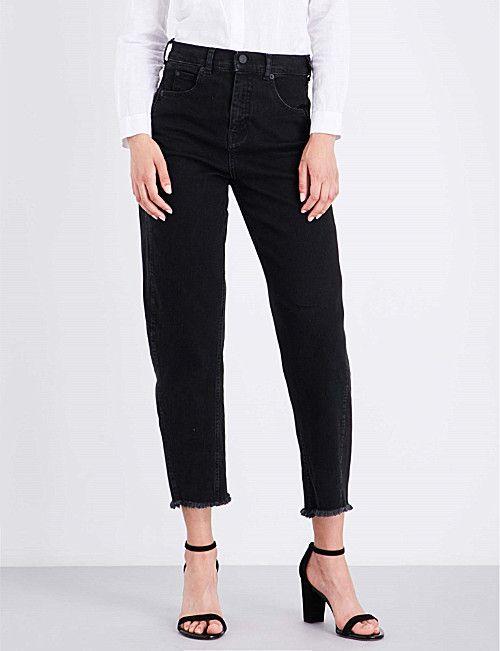 WHISTLES Barrel-leg high-waisted regular-fit jeans