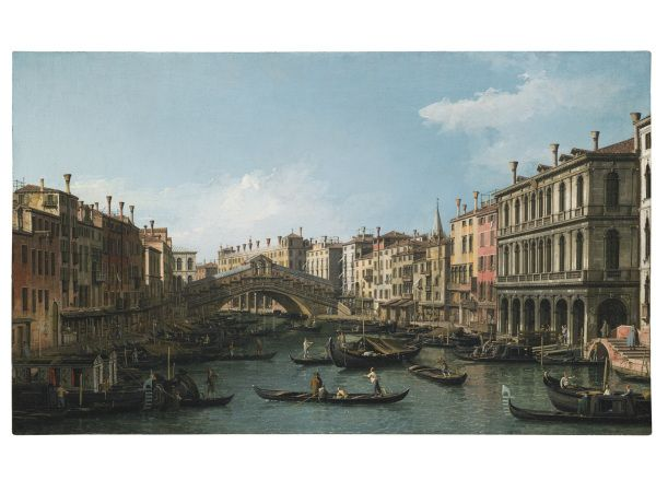 GIOVANNI ANTONIO CANAL, CALLED CANALETTO, VENICE 1697 – 1768 VENICE, THE GRAND CANAL LOOKING NORTH-EAST FROM THE PALAZZO DOLFIN-MANIN TO THE RIALTO BRIDGE One of a pair, both oil on canvas each: 46.5 by 77.1 cm.; 18 1/4 by 30 3/8 in