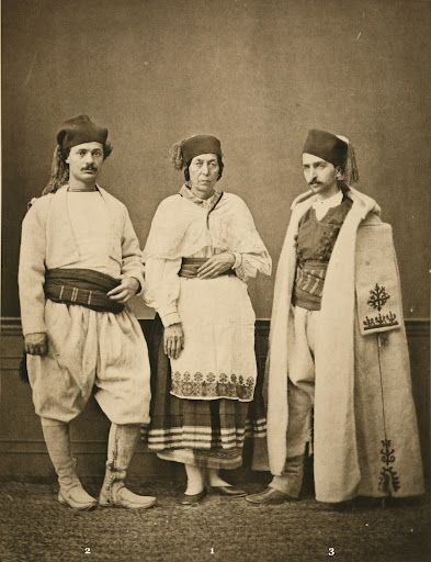 (1) Christian woman village Chania; (2) Christian villager of Chania; (3) resident of Sphakia. from the province of Crète, From Les Costumes Populaires De La Turquie, 1873, taken by French photographer Pascal Sebah at the universal exposition in Vienna, 1873..