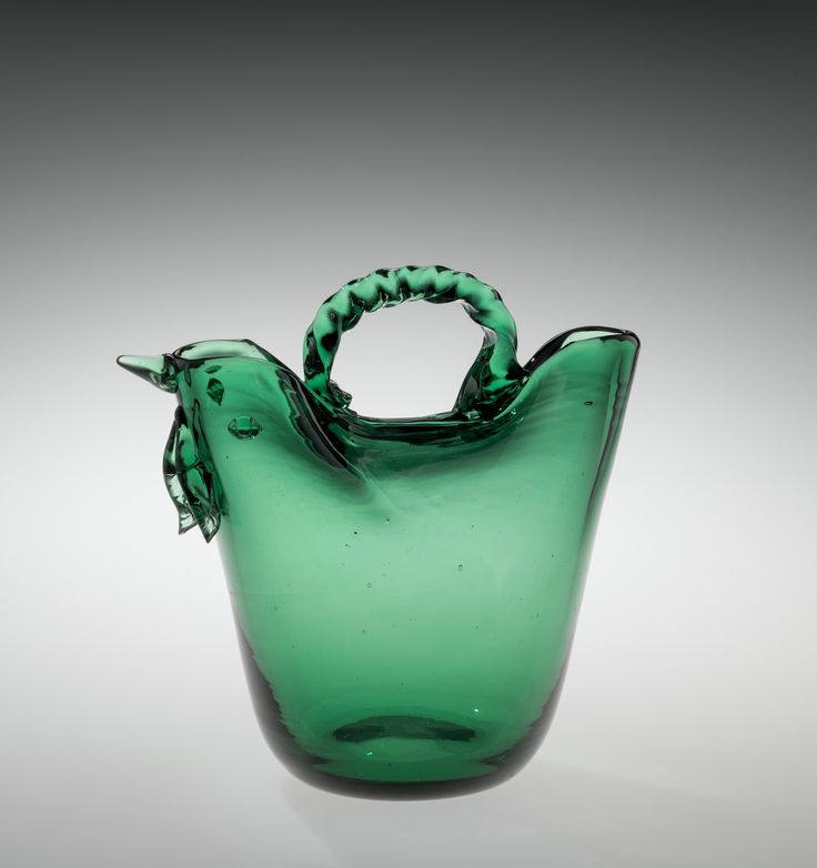 """""""Verde"""" Handled Vase in the Shape of a Hen, about 1930-1958 