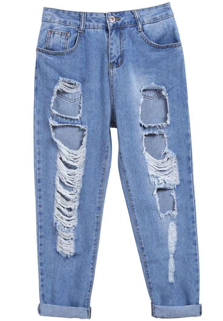 Pantalones vaqueros botón flecos-azul 21.31