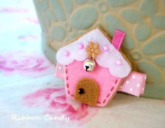 Gingerbread House Felt Hair Clip Sugar by ribboncandyhairbows,