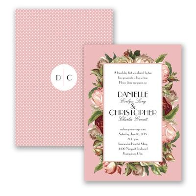 Antique Roses - Wedding Invitation - Polka Dots, Floral, Two-Sided at Invitations By David's Bridal