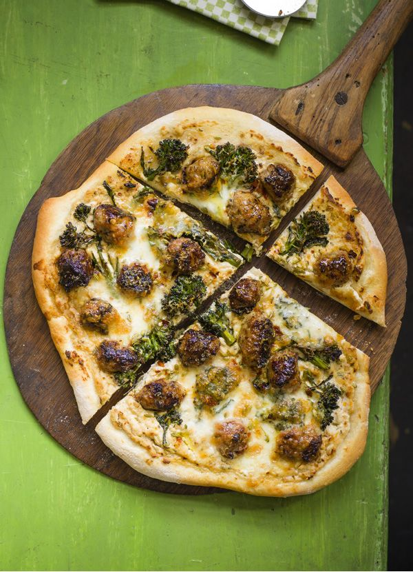 Pizza with sausage, broccoli and fennel