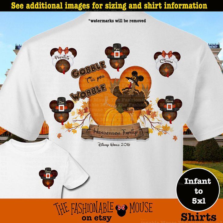 Disney Family Thanksgiving Shirts, Mickey Turkey Family Shirts, Disney Family Turkey Shirts, Gobble Til You Wobble Shirts, Gobble Shirt by TheFashionableMouse on Etsy
