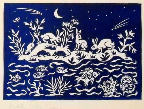 Rabbits by night - Linocutprint