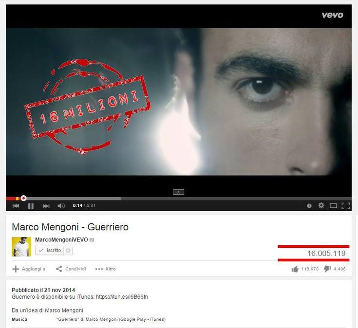 #Guerriero supera i 16 milioni di visualizzazioni su youtube.