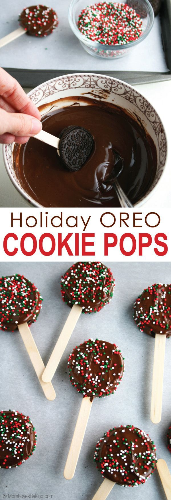Holiday OREO Cookie Pops are a chocolate lovers dream and also super simple to make. Just 3 ingredients! Plus, party planning tips for a Hot Chocolate Bar. [ad]