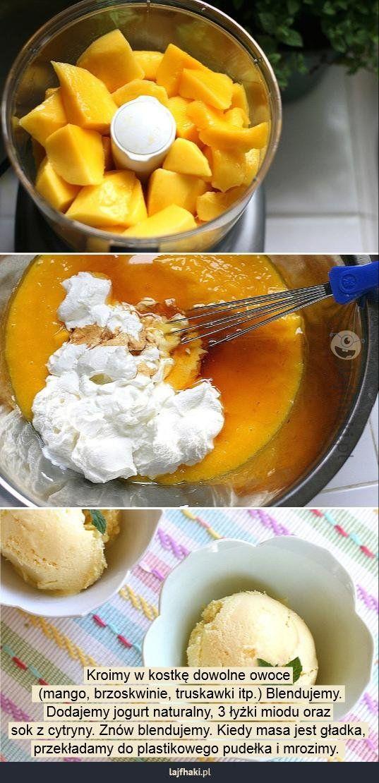 Jak zrobić domowe lody? - Kroimy w kostkę dowolne owoce  (mango, brzoskwinie, truskawki itp.) Blendujemy. Dodajemy jogurt naturalny, 3 łyżki miodu oraz sok z cytryny. Znów blendujemy. Kiedy masa jest gładka, przekładamy do plastikowego pudełka i mrozimy.