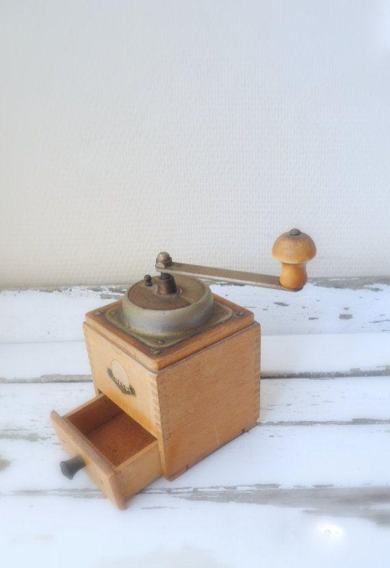 Coffee grinder  vintage brown Dutch wood by Sweetlakevintage, $40.00