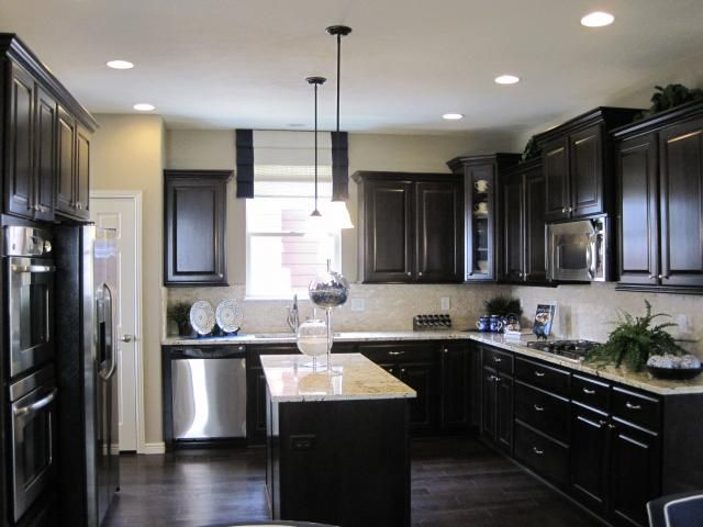 Kitchen idea gray walls dark cabinets caleb house ideas for Dark walls in kitchen