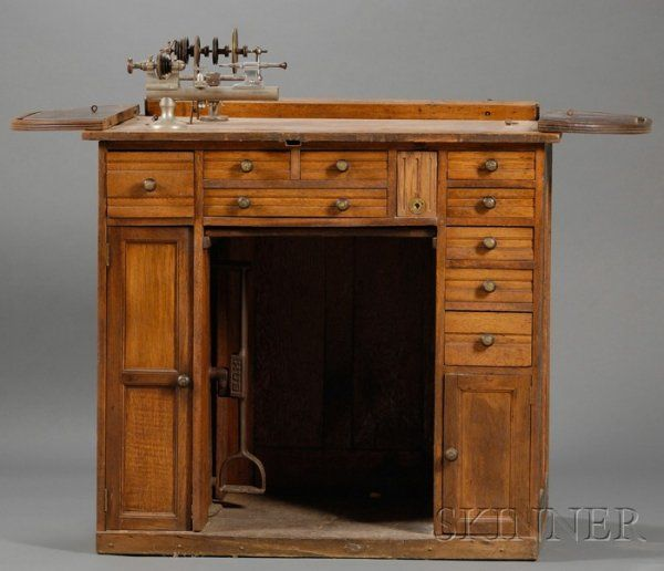 66 Best Antique Work Benches Images On Pinterest: 223: Oak Roll-top Watchmaker's Bench