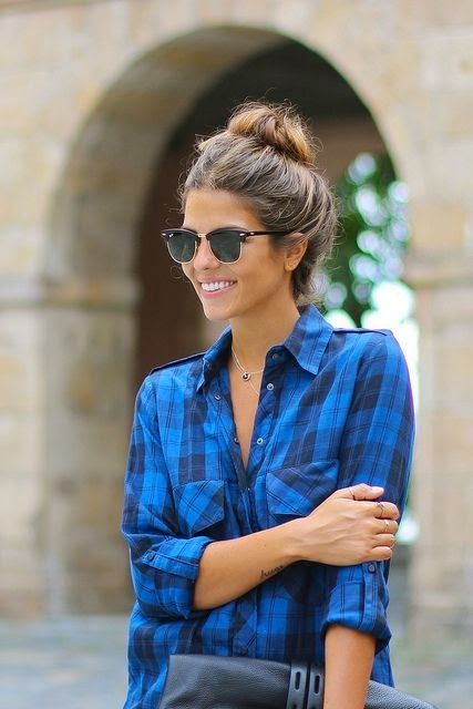 Lovely plaid blue fashion