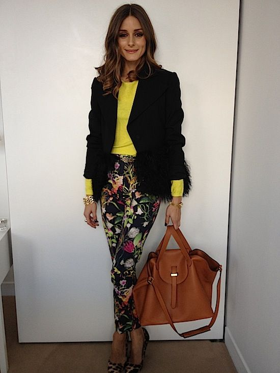 I did not support the floral pant trend, but I saw this ensemble and mind is now changed.  Damn you Olivia and your perfectness!