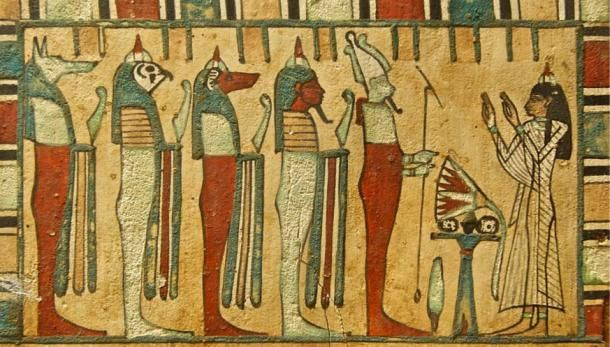 We have much to gain from the anicent civilisations: Lady Meresimen, Singer of God Amon, giving presents to Osiris and the Four Sons of Horus