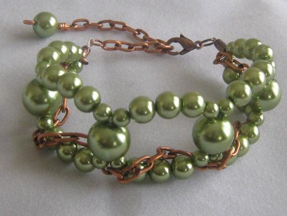 Olive Pearl & Copper Bracelet by ZaZing on Etsy, $15.00