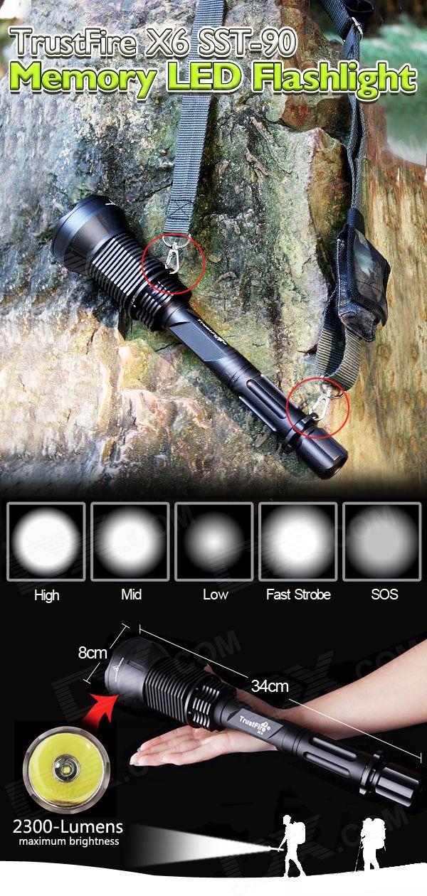 Buy TrustFire X6 SST-90 5-Mode 2300-Lumen Memory LED Flashlight with Batteries Set (3*18650)