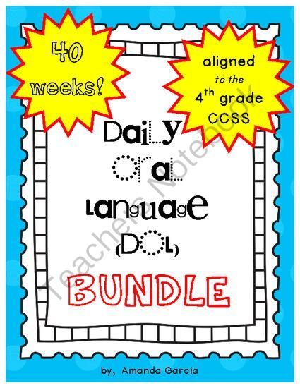 Daily Oral Language (DOL) BUNDLE: Aligned to 4th Grade CCSS from Sweet and Neat Printables on TeachersNotebook.com -  (453 pages)  - AN ENTIRE SCHOOL YEAR of daily sentence correction aligned to the 4th grade Language Arts CCSS! Five DOL booklets (8 weeks long in length) take your students through 40 weeks of daily sentence correction!   (This bundle is equivalent to buying 4 booklets