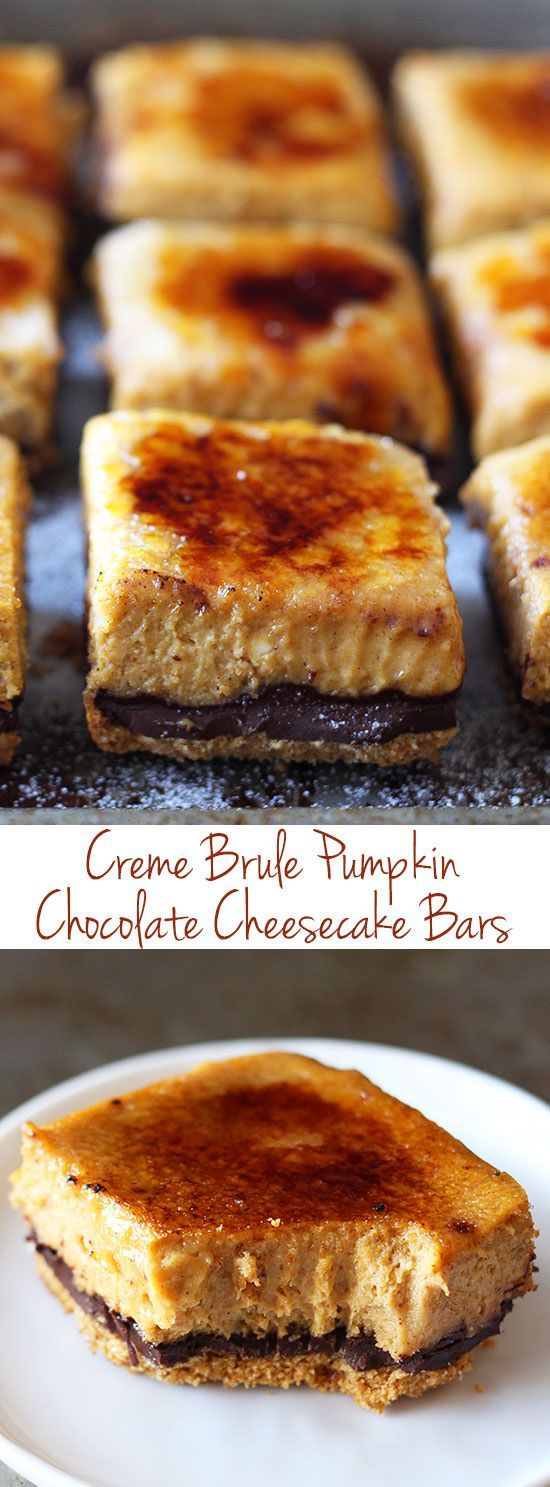 Creme Brule Pumpkin Chocolate Cheesecake Bars - so much BETTER than pumpkin pie! My boyfriend called said these were the best pumpkin dessert he'd ever had! | Dessert Recipe