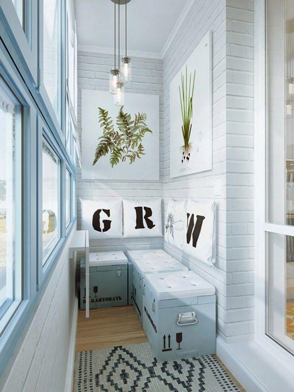pequeño espacios balconada con almacenaje estilo industrial