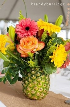 awesome flower arrangement for a hawaiian party!