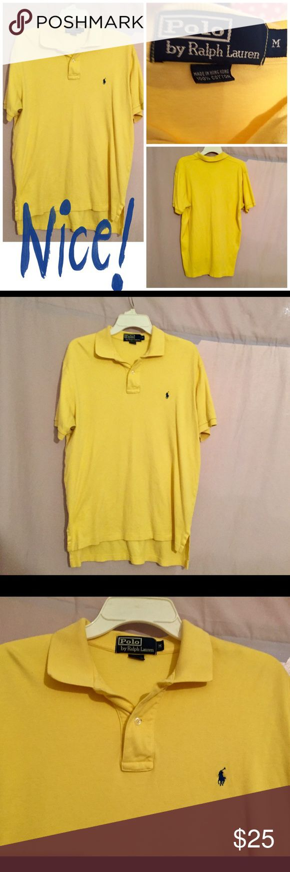 POLO RALPH LAUREN YELLOW POLO SHIRT Men's size M-but runs big, Polo by Ralph Lauren 100% cotton Polo shirt. Bright yellow w/a navy blue Polo pony on the chest. Bought this top for my cousin @ the Nordstrom's half yearly sale & he told me he won't wear yellow. In perfect condition & only worn once by me w/a pair of leggings. Washed but hung dry. Polo by Ralph Lauren Shirts Polos