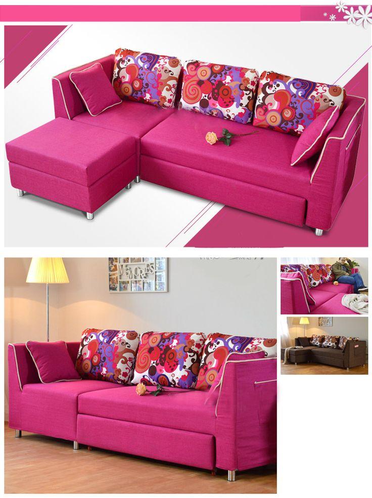 Яркий розовый диван с угловым пуфом и раскладным механизмом можно купить https://lafred.ru/catalog/catalog/detail/44305132348/