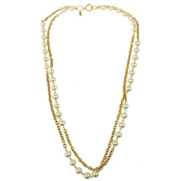 Preowned Chanel Chain Link Pearl Long Drop Drape Evening Necklace (26.016.360 IDR) ❤ liked on Polyvore featuring jewelry, necklaces, beige, pendant necklaces, white pearl necklace, pre owned jewelry, long chain link necklace and pearl necklace