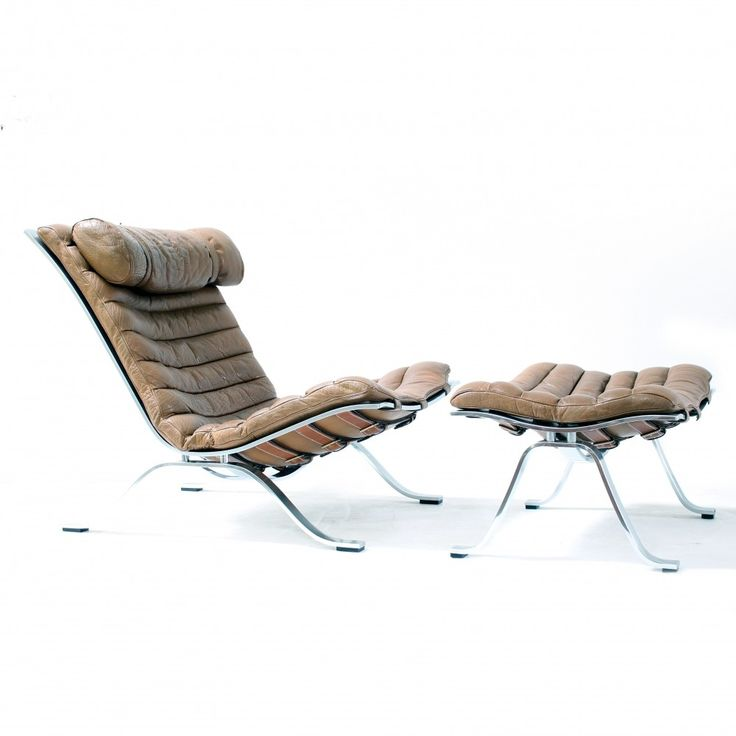 rare arne norell lounge chair with ottoman 1960s