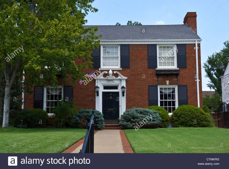 Red Brick House With Flag For Independence Day In Oklahoma City ...