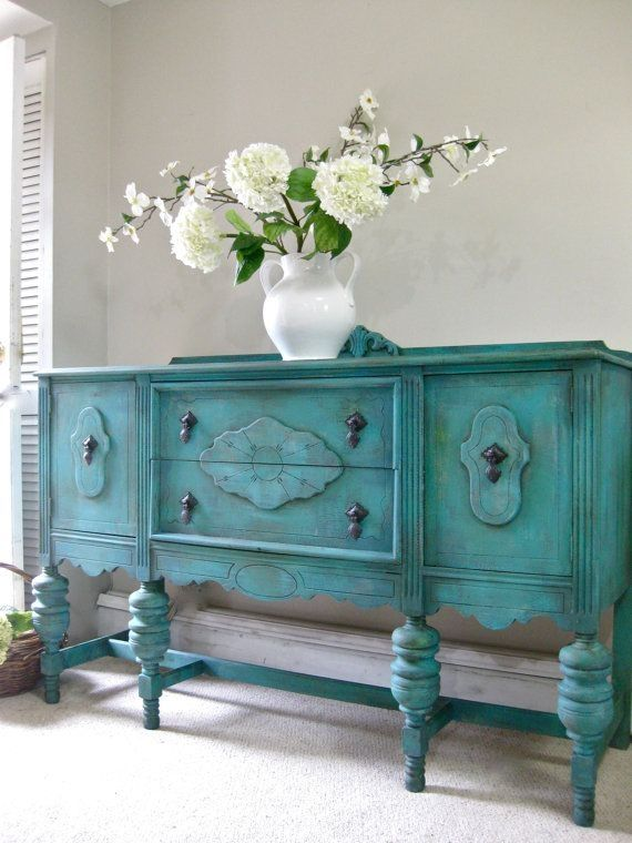 SOLD - Hand Painted French Country Cottage Chic Shabby Romantic Vintage Victorian Jacobean Aqua Turquoise Sideboard Cabinet Buffet on Etsy, $1.00 by reva