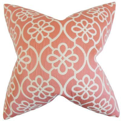"August Grove Synthetic Throw Pillow Color: Coral, Size: 22"" x 22"""