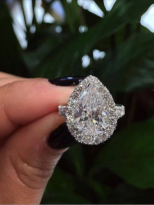 Engagement ring and wedding rings from Jean Pierre Jewelers 07 / http://www.deerpearlflowers.com/halo-engagement-rings-wedding-rings/ #EngagementRings