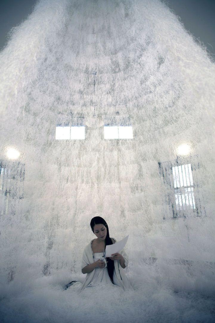 Japanese artist Sachiko Abe | Photo credit: Tai Spruyt | Artist Cuts a Meditative Fortress of Paper Strips - My Modern Metropolis