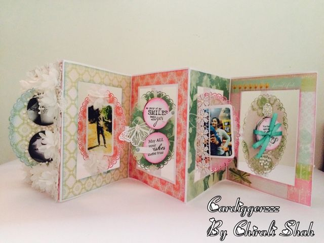 A lovely shabby chic accordion cutout card without usage of die.