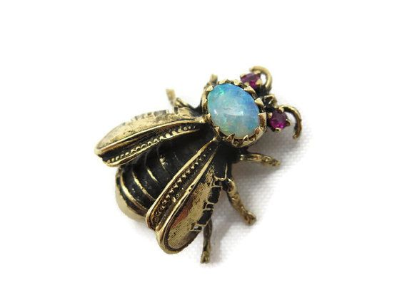 14k Gold Bee Brooch  Opal and Ruby Bee Pendant by VintageInBloom #ecochic #etsygiftideas #vintagefinejewelry