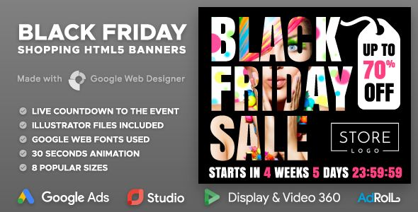 Black Friday Sale Shopping Html5 Banners With Live Countdown Gwd Nulled Shopping Sale Black Friday Sale Black Friday Sale Shops